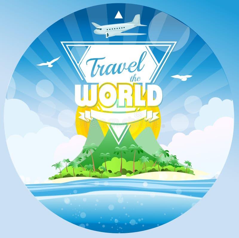 Download Podróżuje światowego Tropikalnego Tło Ilustracja Wektor - Ilustracja złożonej z egzot, plaża: 53777993