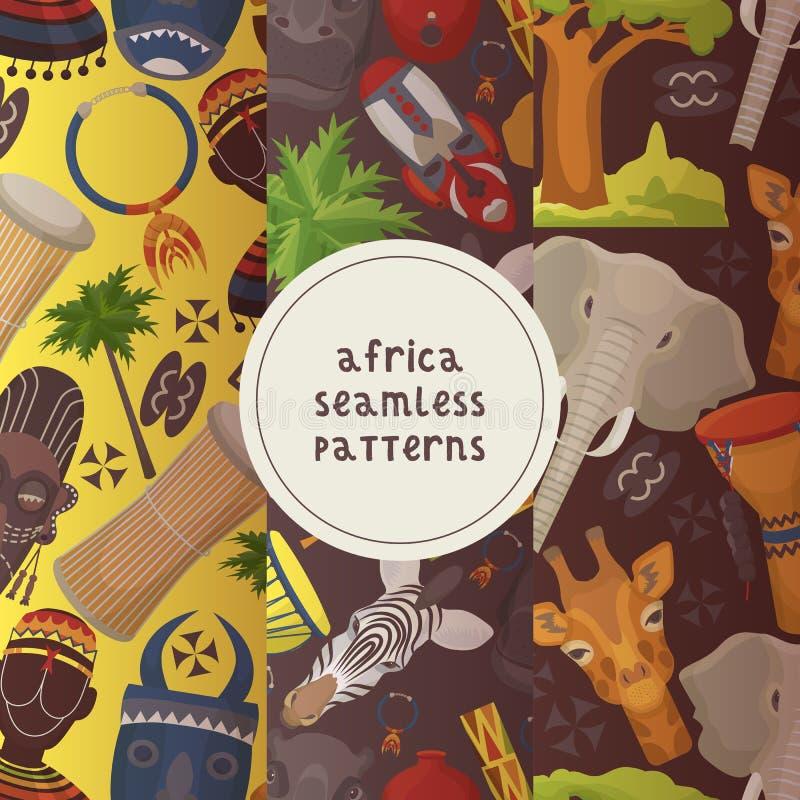 Podróżuje Afryka ustawiającego bezszwowa wzoru wektoru ilustracja Dzikie zwierz?ta Auch jako zwierz?ta tak jak s?o?, ?yrafa ilustracji