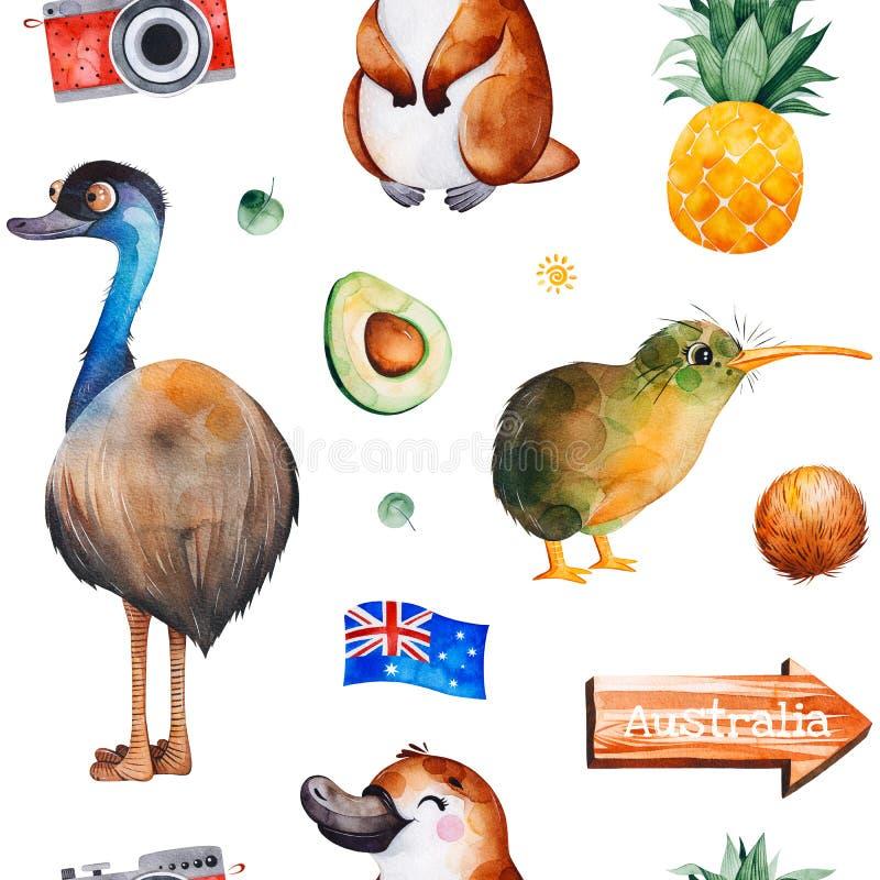 Podróżuje akwarela bezszwowego wzór z Australijskimi zwierzętami, owoc, flaga, kamera ilustracja wektor