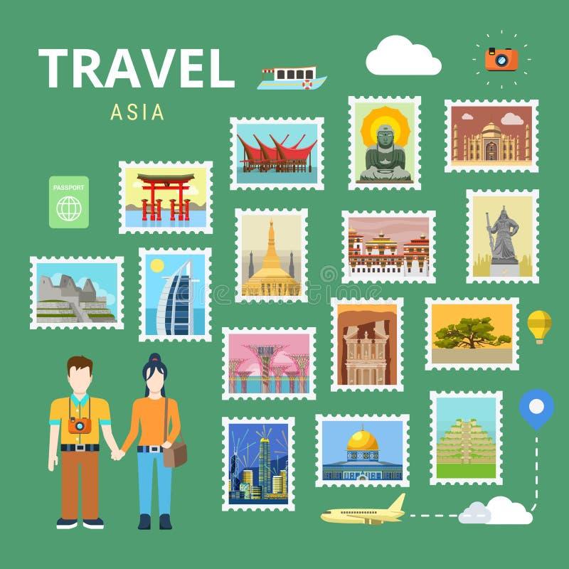 Podróżuje Azja Japonia India turystyki Porcelanowego płaskiego wektorowego szablon ilustracji