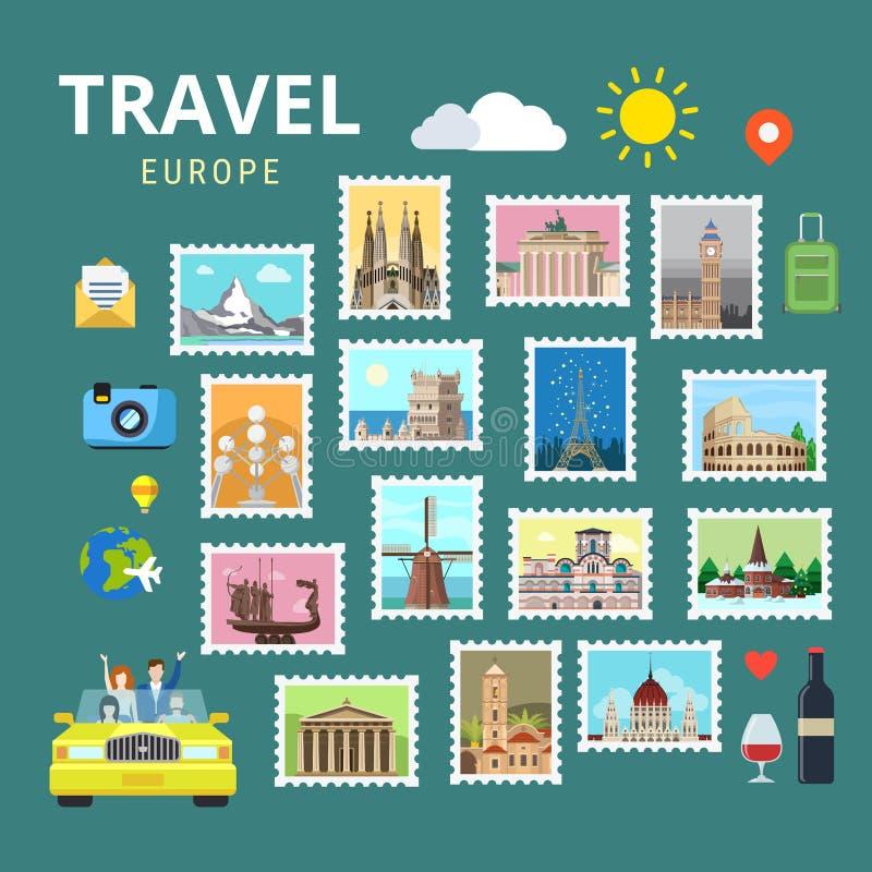Podróżuje Europa Anglia Włochy Francja Austria Ukraina mieszkania wektor royalty ilustracja