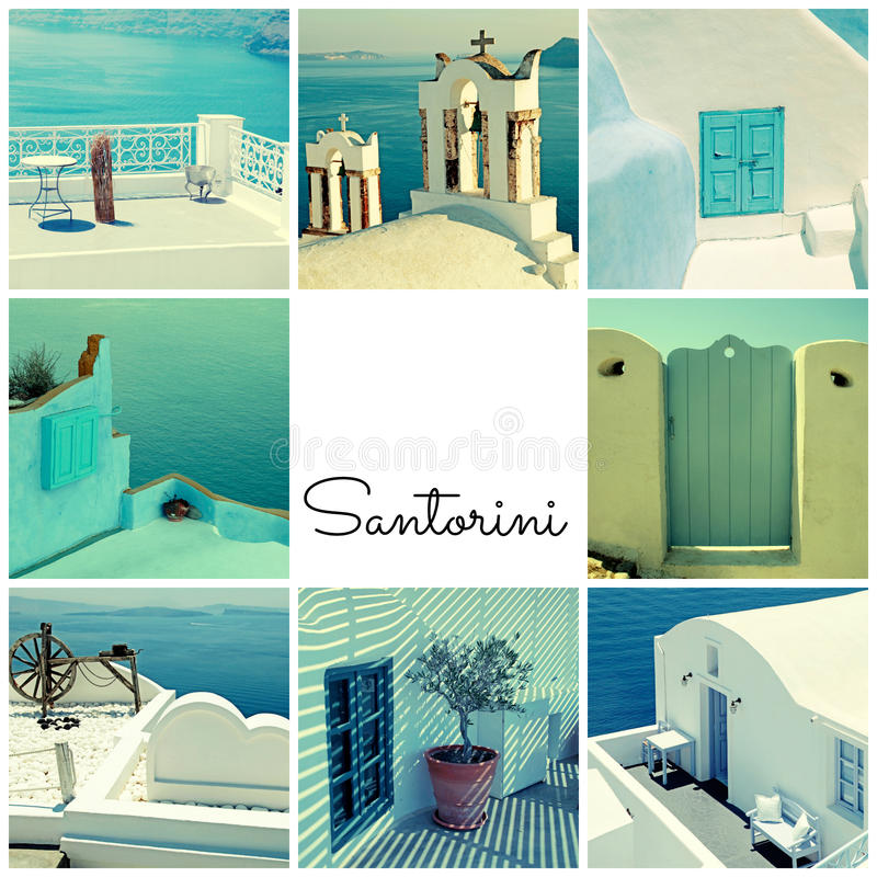 Podróżuje fotografia kolaż z szczegółem grecka architektura i Aegea zdjęcie royalty free