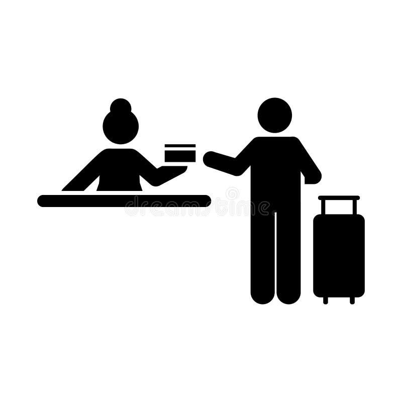 Podróżuje, grępluje, lotnisko, mężczyzna ikona Element hotelowa piktogram ikona Premii ilo?ci graficznego projekta ikona podpisz  royalty ilustracja