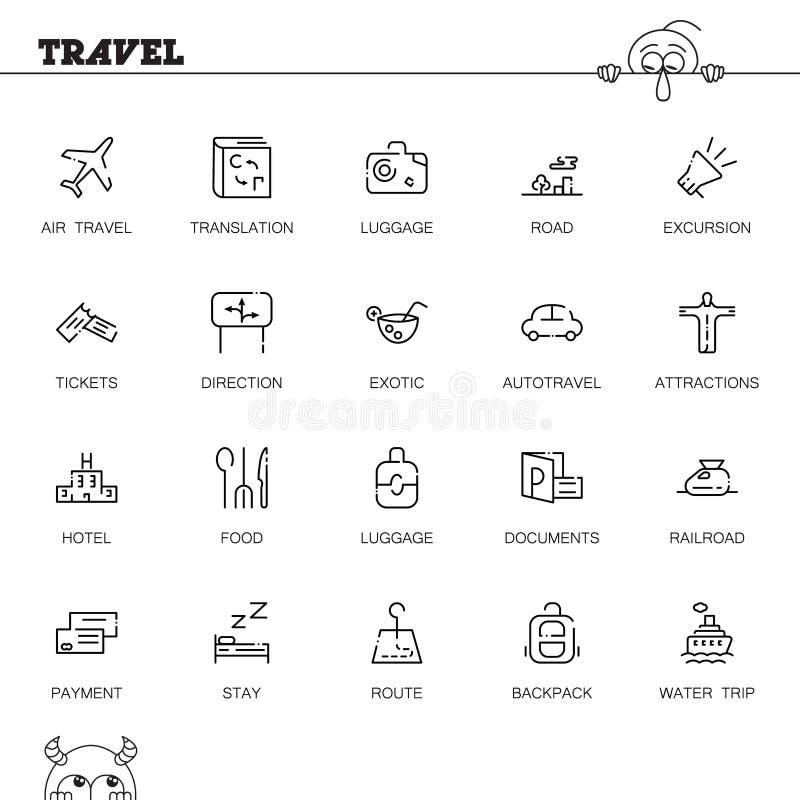 Podróżuje ikonę lub loga ustawiających dla sieć projekta ilustracja wektor
