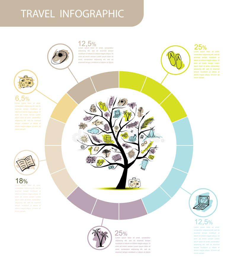 Podróżuje infographic, pojęcia drzewo dla twój projekta ilustracja wektor