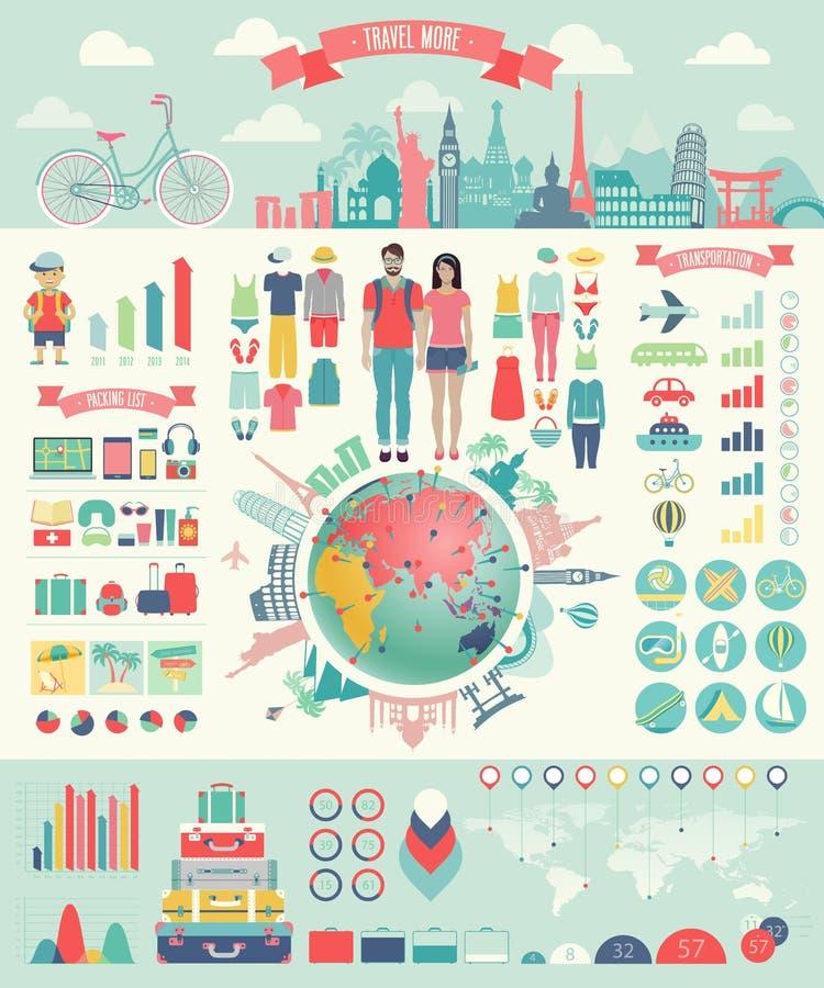 Podróżuje Infographic ustawiającego z mapami i innymi elementami ilustracji