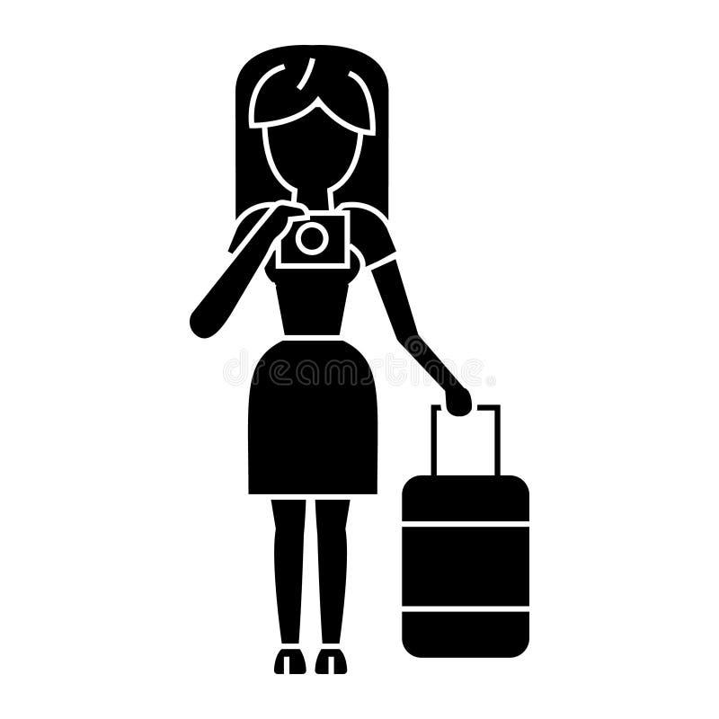Podróżuje kobiety robi fotografii ikonie, wektorowa ilustracja, czerń znak na odosobnionym tle ilustracja wektor