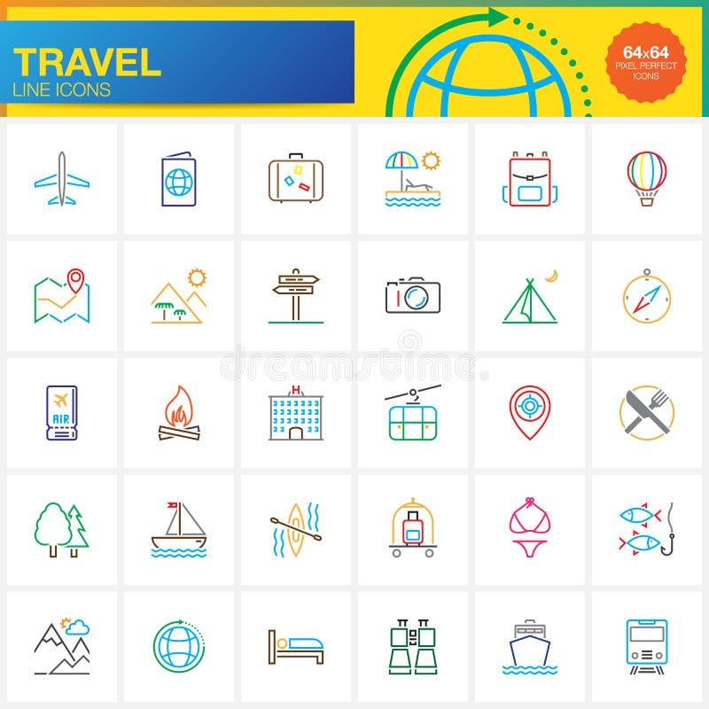 Podróżuje kreskowe ikony ustawiać, konturu symbolu wektorowa kolekcja, liniowy piktogram ilustracji