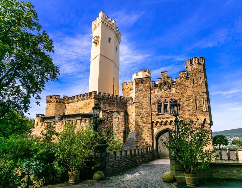 Podróżuje Legendarną romantyczną trasę - grodowy Stolzenfels g fotografia royalty free