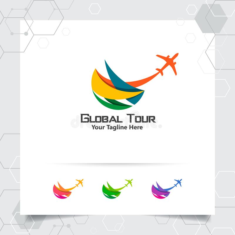 Podróżuje logo projekta pojęcie samolotowa ikona z kula ziemska symbolem Podr??ny logo wektor dla ?wiatowej wycieczki turysycznej royalty ilustracja
