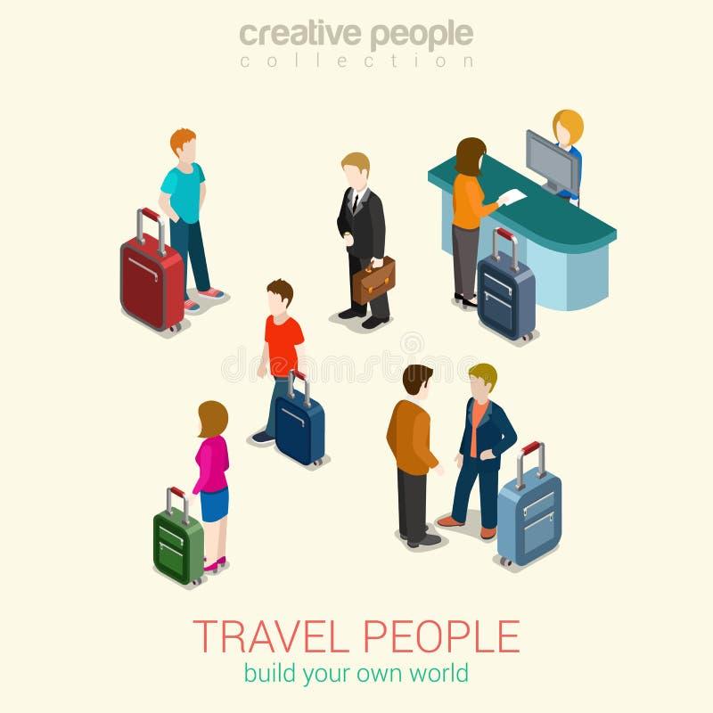 Podróżuje ludzi płaskiej 3d sieci pojęcia isometric infographic setu ilustracji
