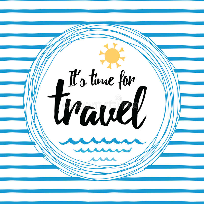 Podróżuje pasiastą typograficzną kartę z inspiracyjną wycena, słońce, denne fala, ocean ilustracji