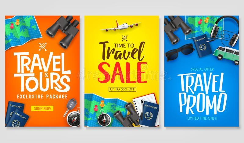 Podróżuje Plakatowego wektoru Ustalonego szablon z Kreatywnie Eleganckim teksta logo i Realistycznymi 3D rzeczy Podróżnymi elemen ilustracji