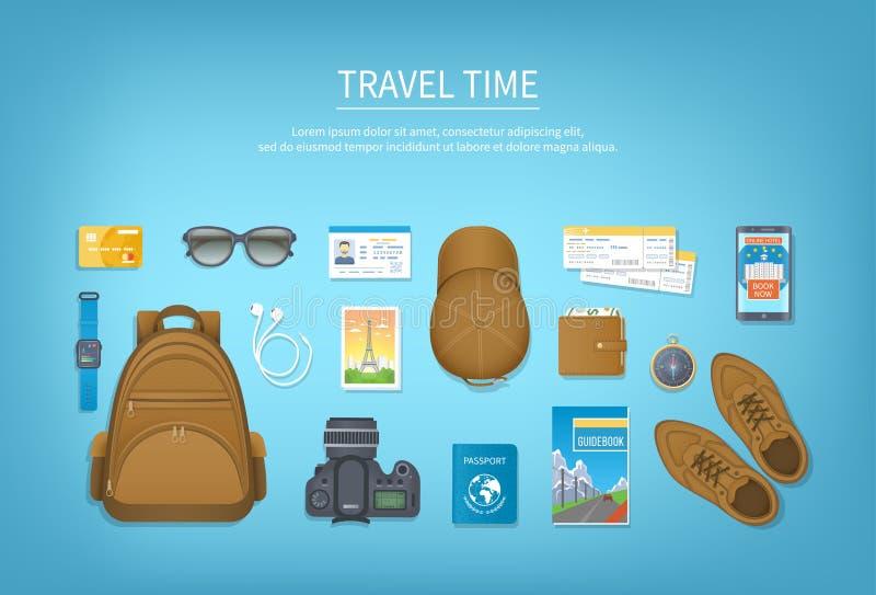 Podróżuje planowanie, kocowanie czeka listy narządzanie dla wakacje, podróż, podróż, wycieczka Stół z bagażem, lotniczy bilet, pa ilustracji