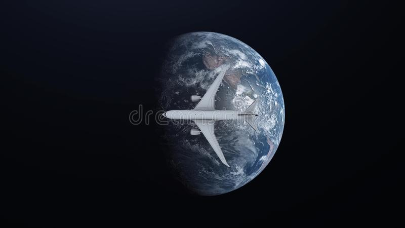 Podróżuje pojęcie samolotowy latanie wokoło ziemi na astronautycznym tle ilustracja 3 d ilustracja wektor