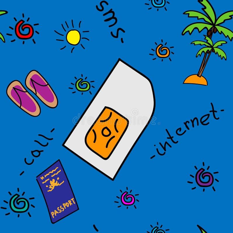 Podróżuje SIM ilustrację na błękitnym promieniowym gradientowym tle ilustracji
