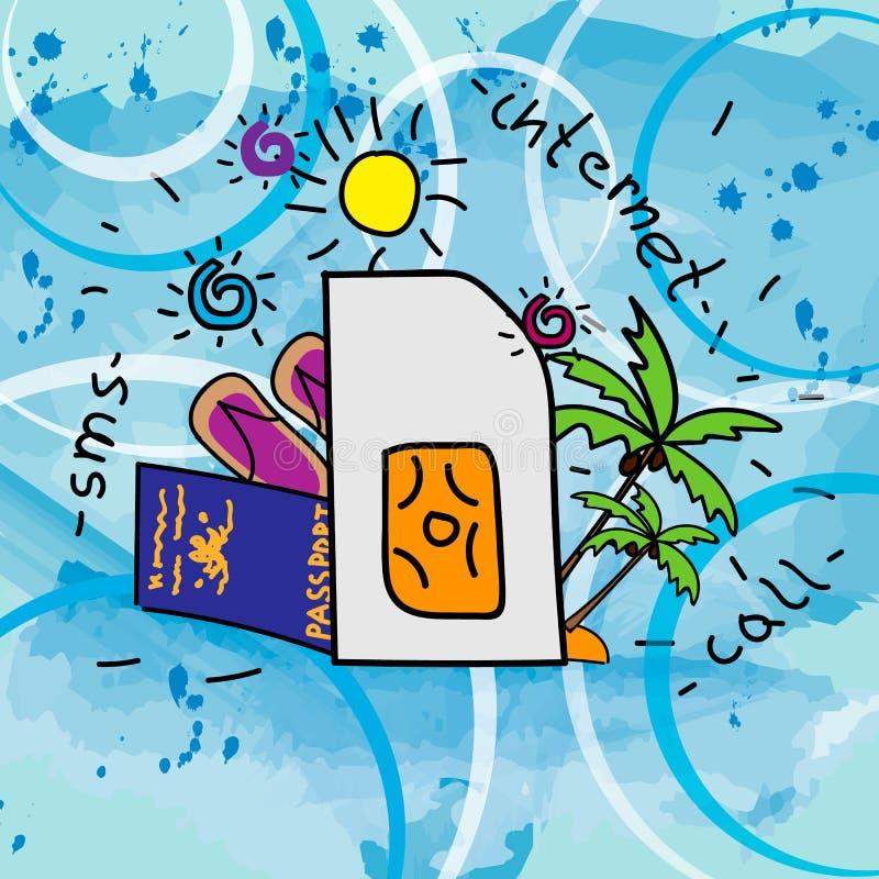 Podróżuje SIM ilustrację na błękitnym promieniowym gradientowym tle _ Projektować ręka rysunek ilustracja wektor
