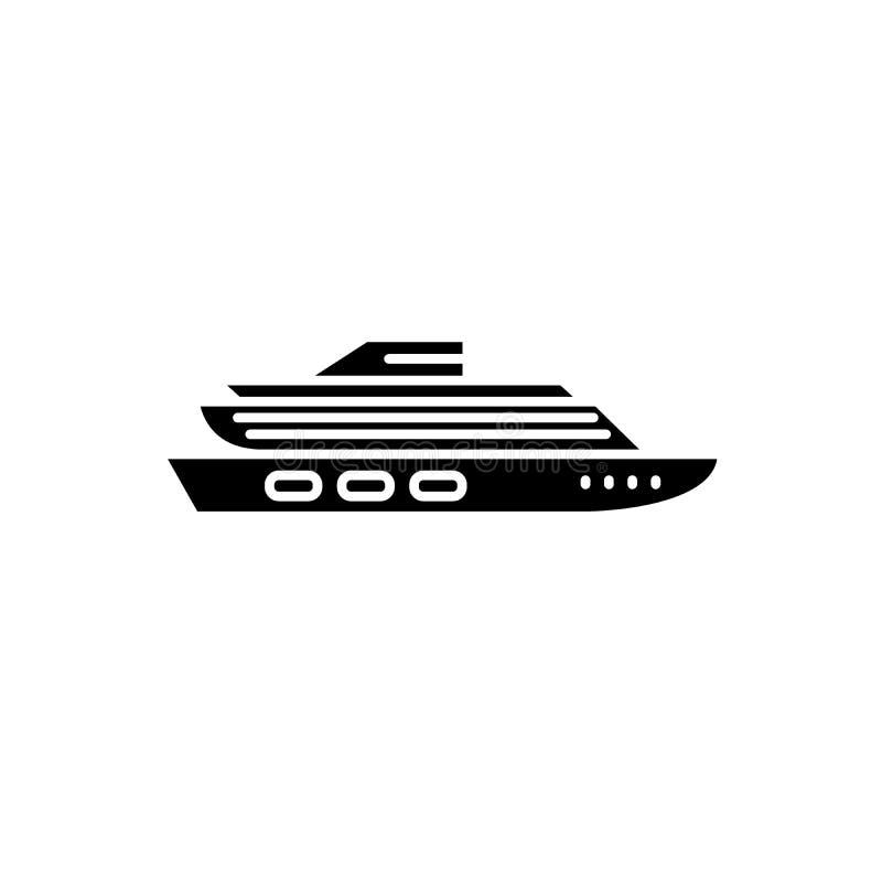 Podróżuje statek wycieczkowy czarną ikonę, wektoru znak na odosobnionym tle Podróż statku wycieczkowego pojęcia symbol, ilustracj ilustracji