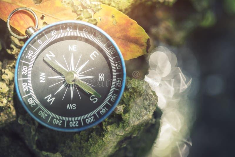 Podróżuje tło, kompas na ziemi z liściem w naturze z su zdjęcie stock