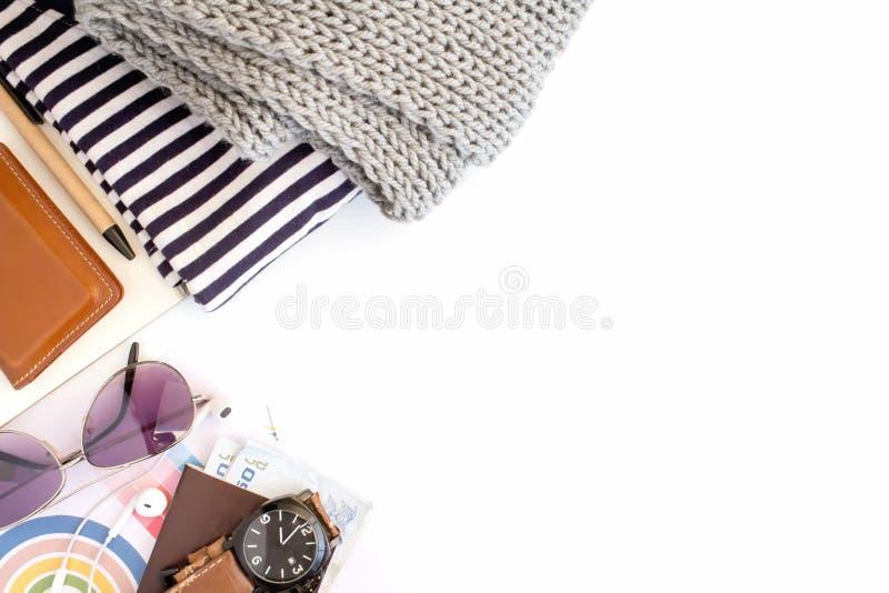 Podróżuje Ubraniowych akcesoriów odzież along dla wycieczki fotografia stock
