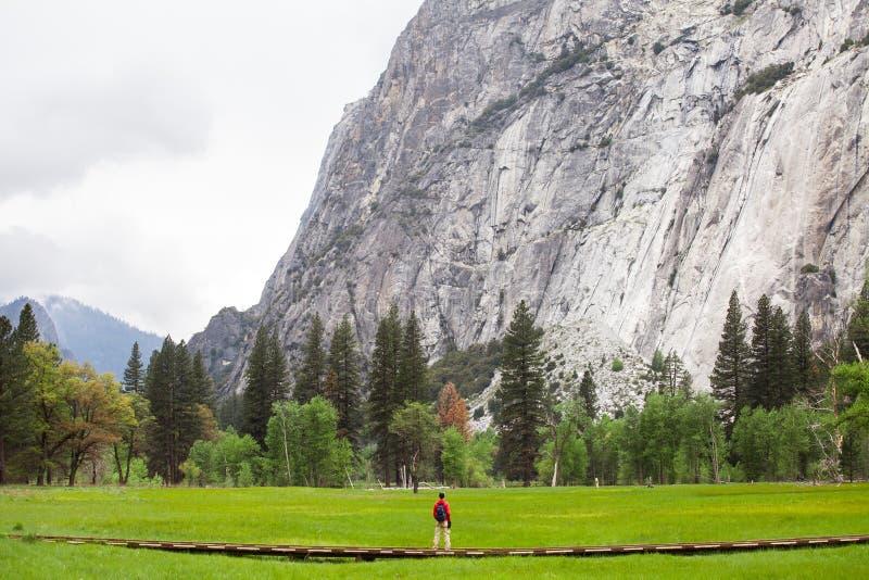 Podróżuje w Yosemite parku narodowym, mężczyzna wycieczkowicz z plecakiem cieszy się widok, plenerowy styl życia, usa fotografia royalty free