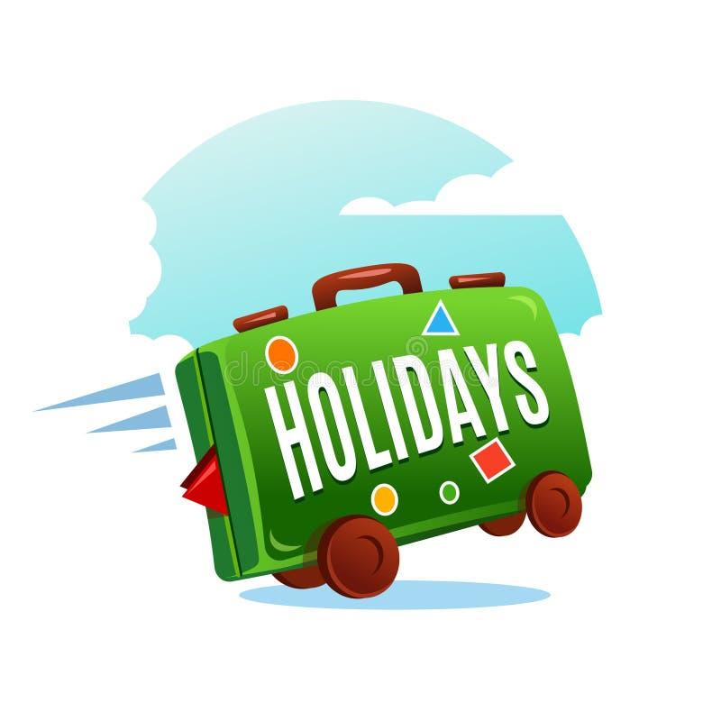 Podróżuje walizkę w zielonym kolorze na niebieskim niebie ilustracja wektor
