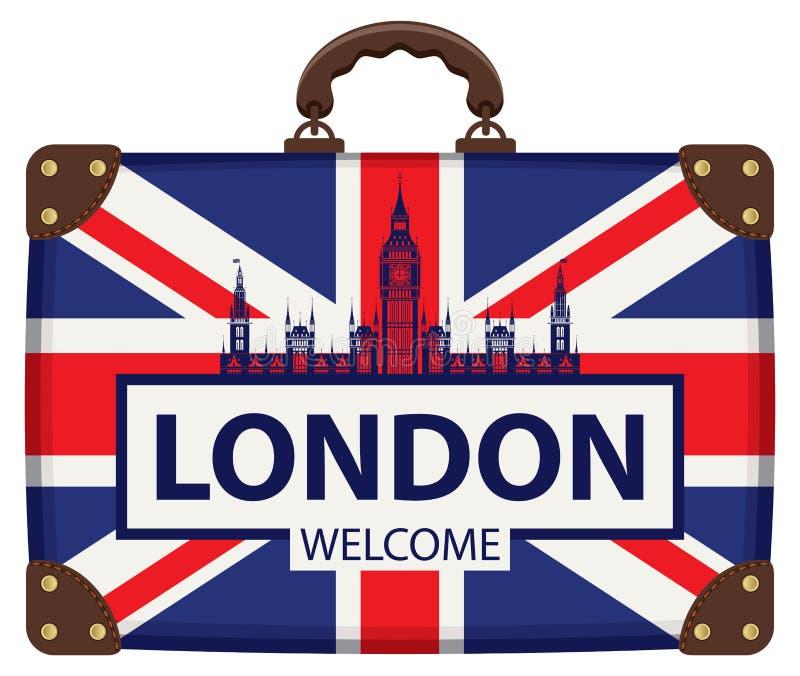 Podróżuje walizkę z flaga Brytania i Big Ben royalty ilustracja