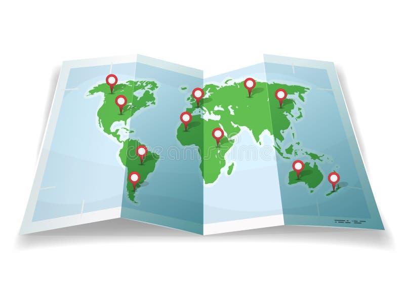 Podróży Światowa mapa Z GPS szpilkami royalty ilustracja