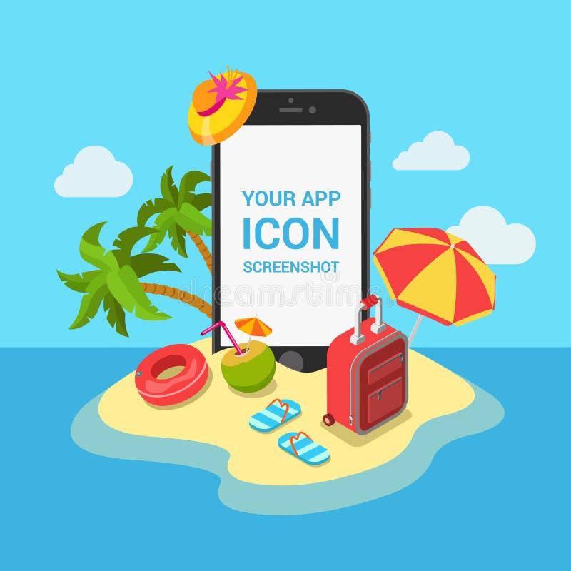 Podróży app mockup gabloty wystawowej mieszkania 3d mobilny isometric szablon ilustracja wektor
