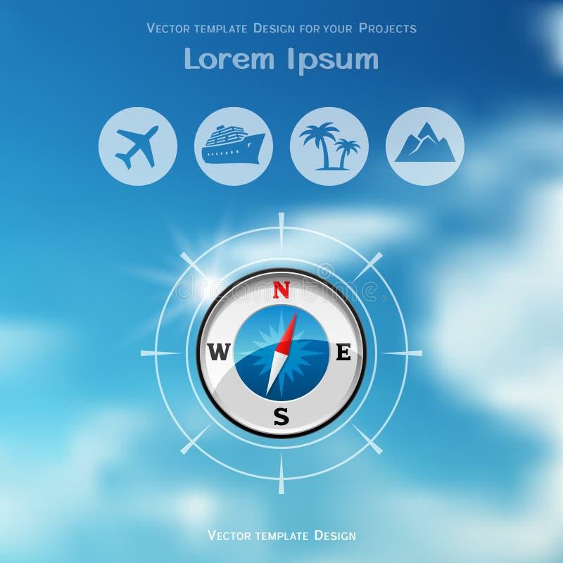 Podróży broszurki pokrywy projekt z cyrklową ikoną ilustracji