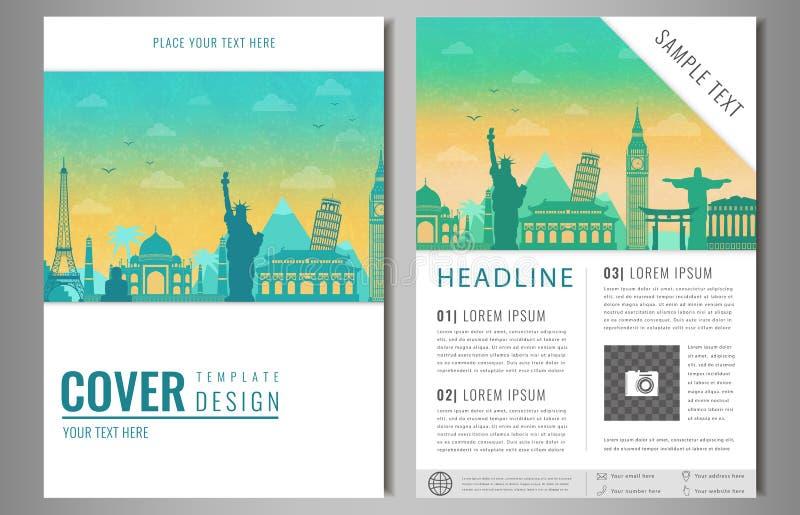 Podróży broszurki projekt z sławnymi punktami zwrotnymi i światową mapą Szablon dla podróży i turystyki biznesu pojęcia wektor ilustracja wektor