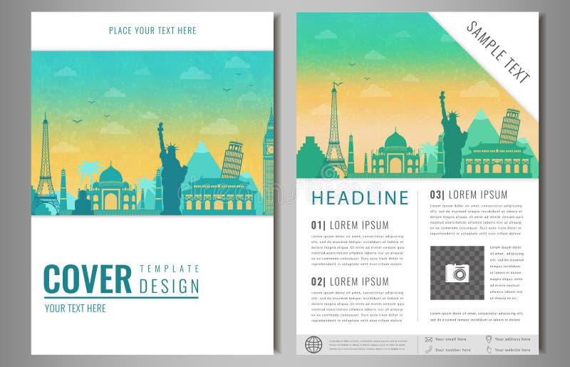 Podróży broszurki projekt z sławnymi punktami zwrotnymi i światową mapą Szablon dla podróży i turystyki biznesu pojęcia wektor ilustracji