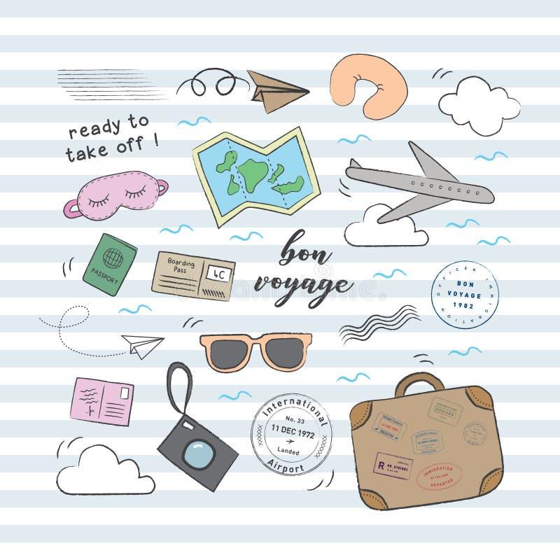 Podróży doodle samolotowy set royalty ilustracja
