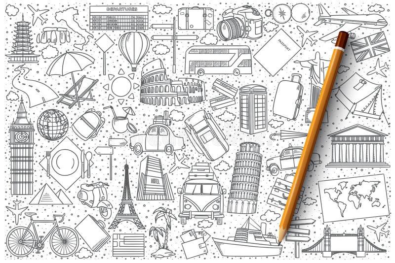 Podróży doodle wektoru set royalty ilustracja