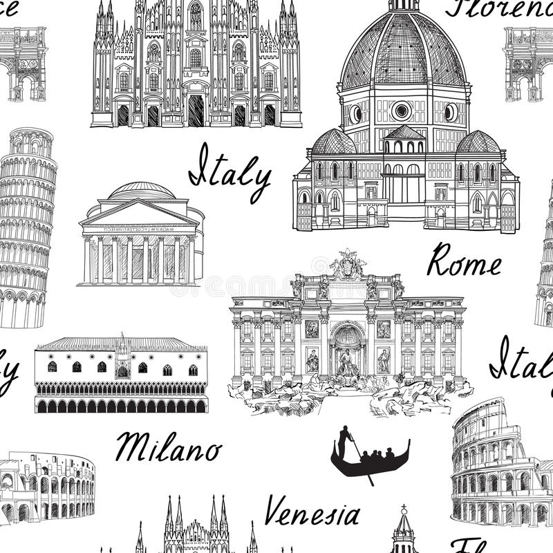 Podróży Europa tło Włochy sławnego punktu zwrotnego bezszwowy wzór ilustracji