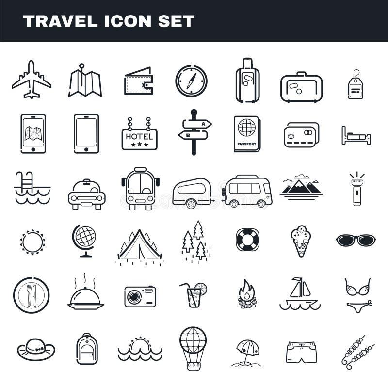 Podróży i campingowego tematu płaskiego konturu ikony wektorowy set zdjęcia stock