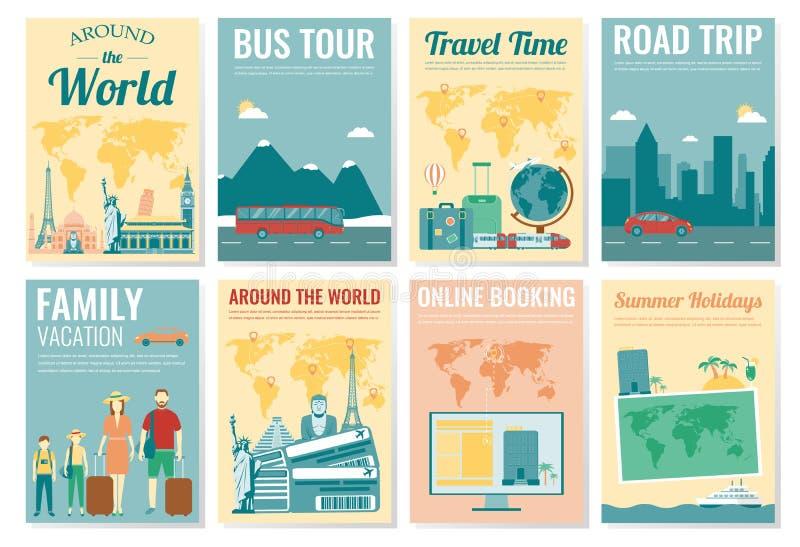 Podróży i turystyki broszurki set Szablon magazyn, plakat, książkowa pokrywa, sztandar, ulotka wektor royalty ilustracja