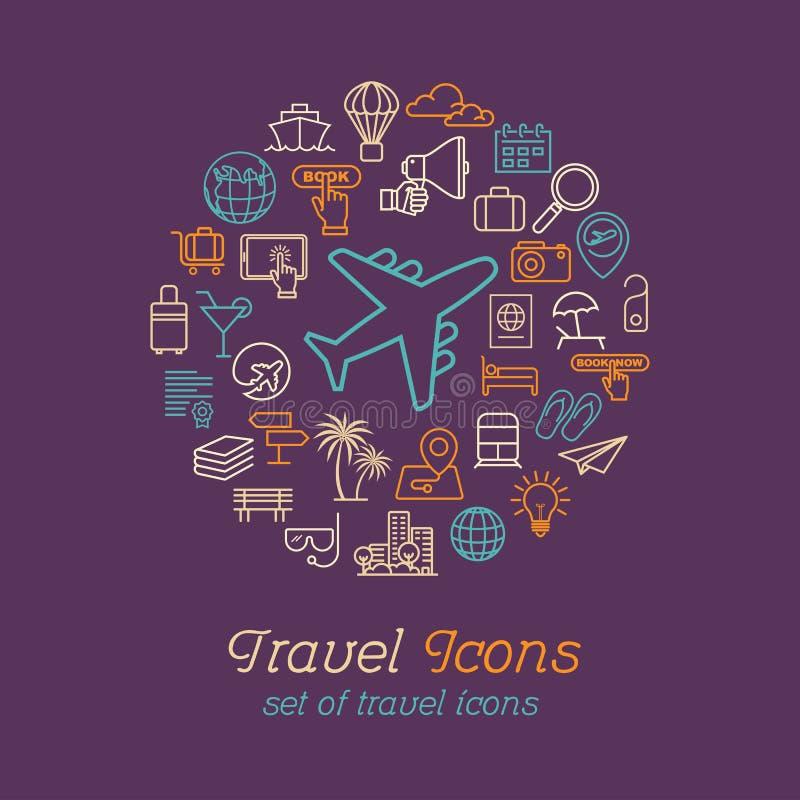 Podróży i turystyki kreskowe ikony ustawiają płaskiego projekt, loga projekta szablon ilustracja wektor