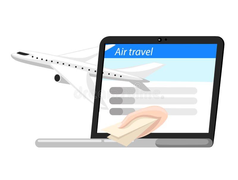 Podróży i turystyki tło Kupienia lub rezerwaci online bilety Podróż, biznesowi loty na całym świecie Płaska ilustracja Sieć ilustracji