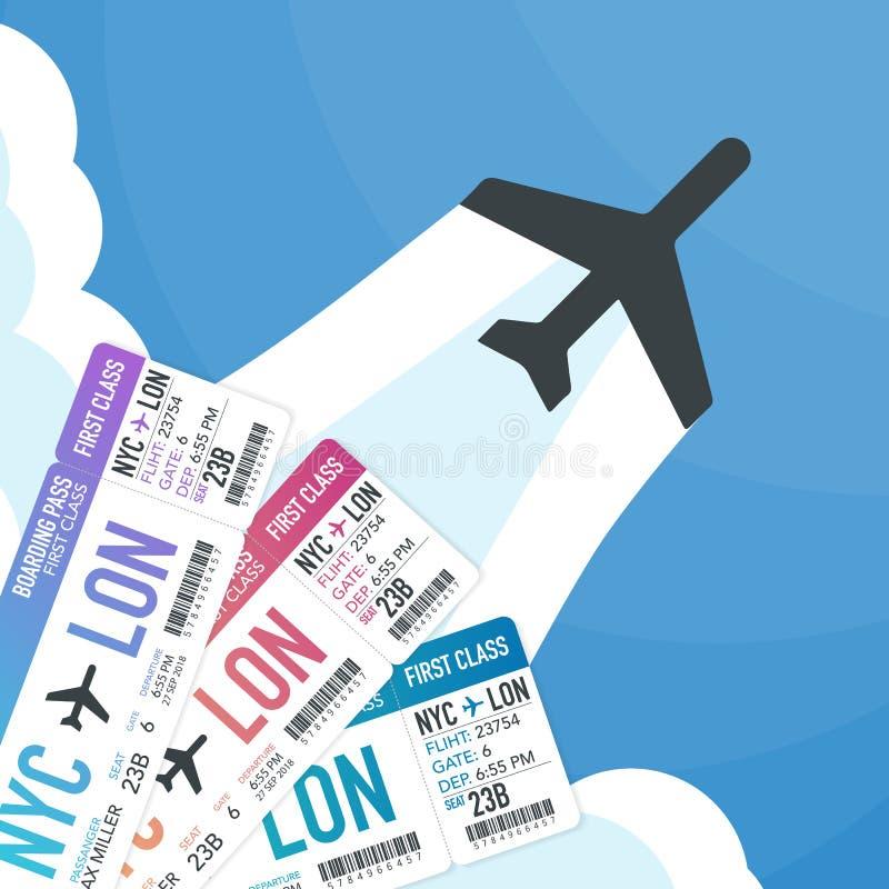 Podróży i turystyki tło Kupienia lub rezerwaci online bilety Podróż, biznesowi loty na całym świecie również zwrócić corel ilustr royalty ilustracja