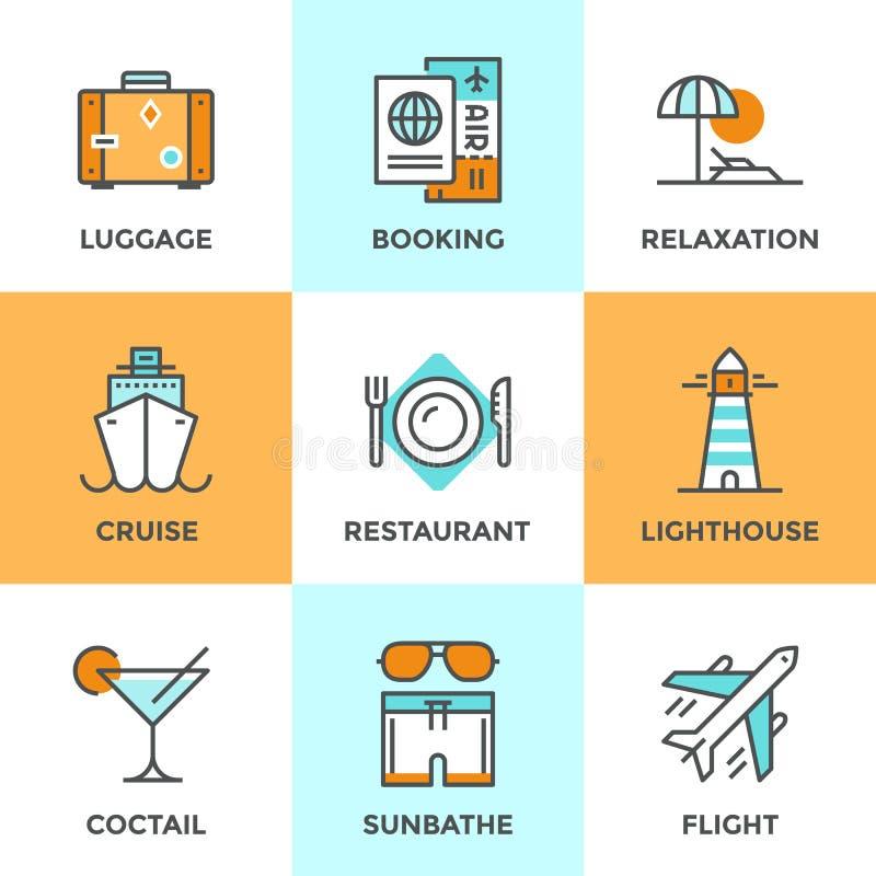 Podróży i wakacje kreskowe ikony ustawiać royalty ilustracja