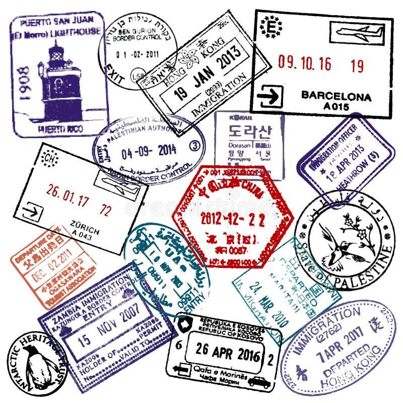 Podróży i wizy paszportowi znaczki ilustracji