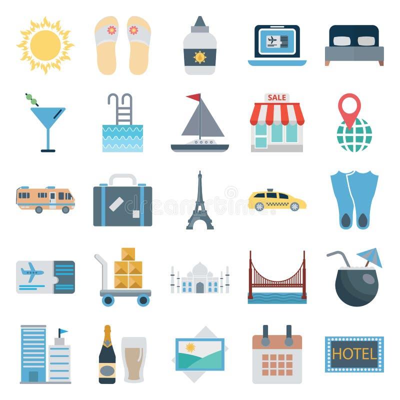 Podróży i wycieczki turysycznej koloru wektor Odizolowywać ikony Składać się z z słońcem, trzepnięcie klapa, drabina, sklep, taxi royalty ilustracja