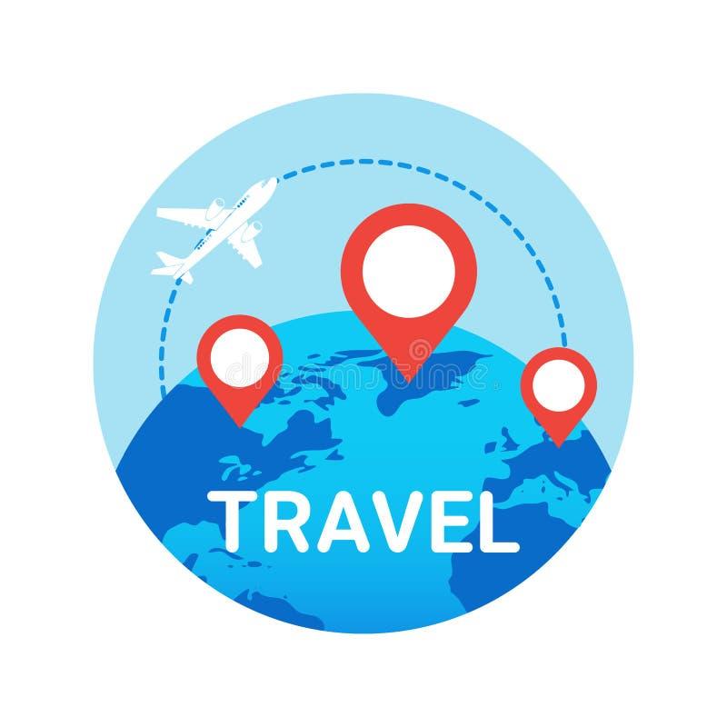 Podróży ikona Odizolowywająca Płaska komarnica Nad Światową kulą ziemską Z mapa pointerami ilustracji