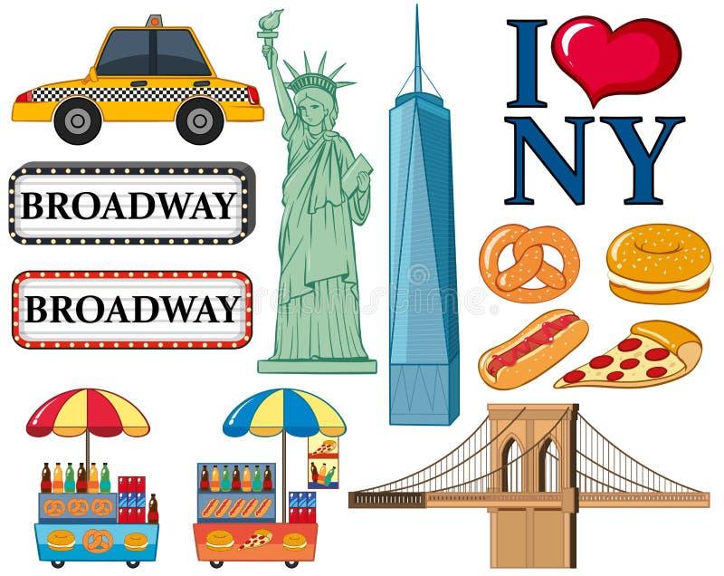 Podróży ikony dla Nowy Jork miasta ilustracji
