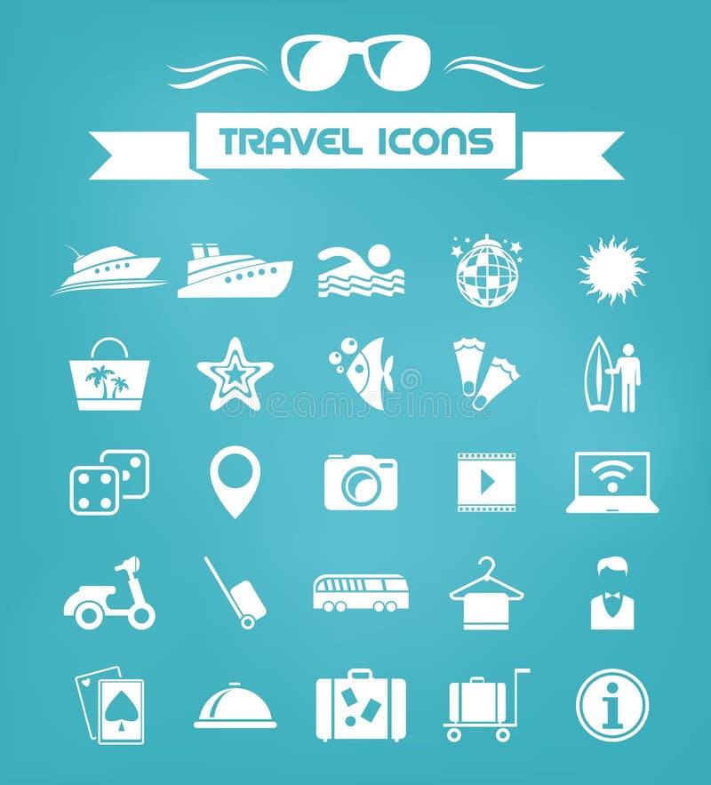 Podróży ikony Płaski set ilustracji