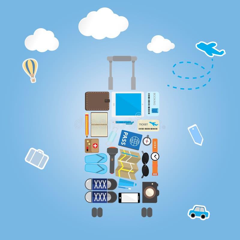 Podróży ikony położenie w bagażu kształcie na błękitnym tle ilustracji