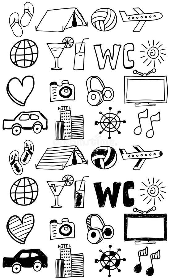 Podróży ikony ustawiać, doodles ręka rysująca/ ilustracji