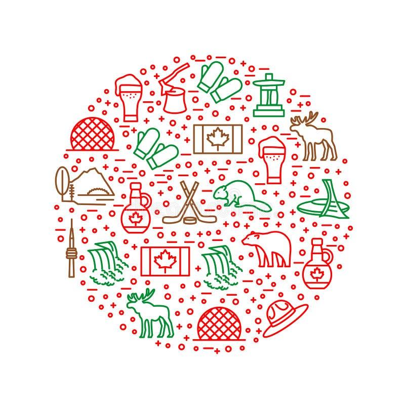 Podróży Kanada znaki Cienieją Kreskowego Round projekta szablon wektor ilustracja wektor