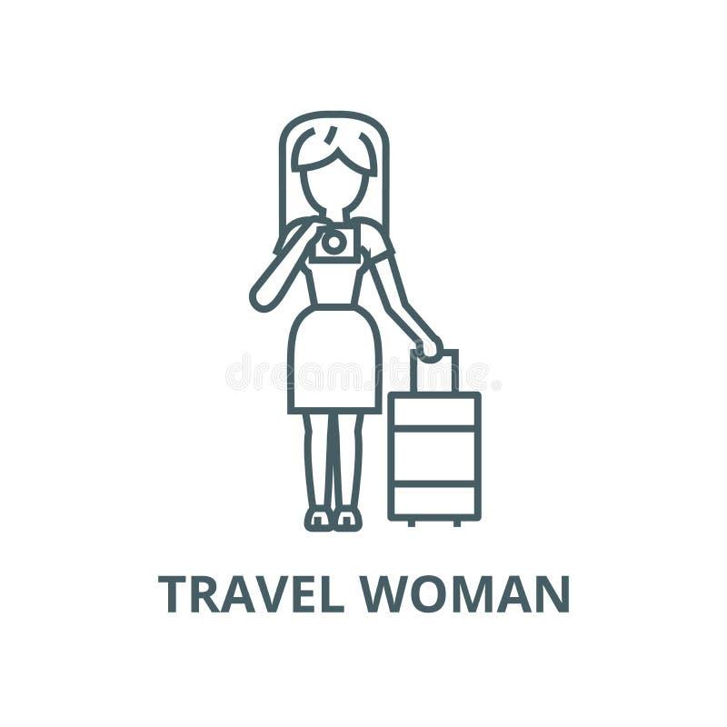 Podróży kobieta robi fotografia wektoru linii ikonie, liniowy pojęcie, konturu znak, symbol royalty ilustracja